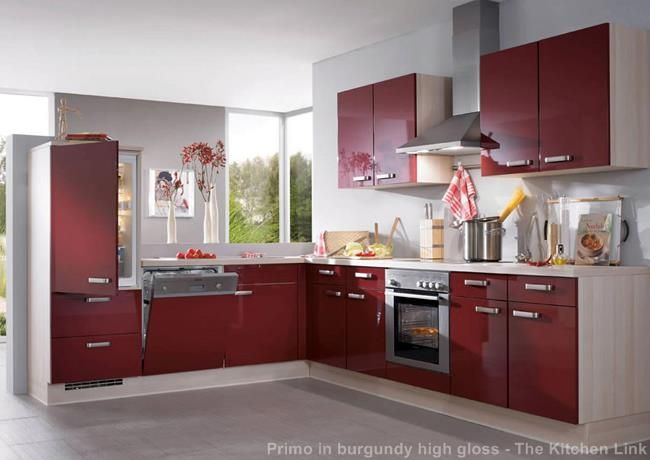 Nobilia Primo Kitchen In Burgundy High Gloss 671 | The Primo Range