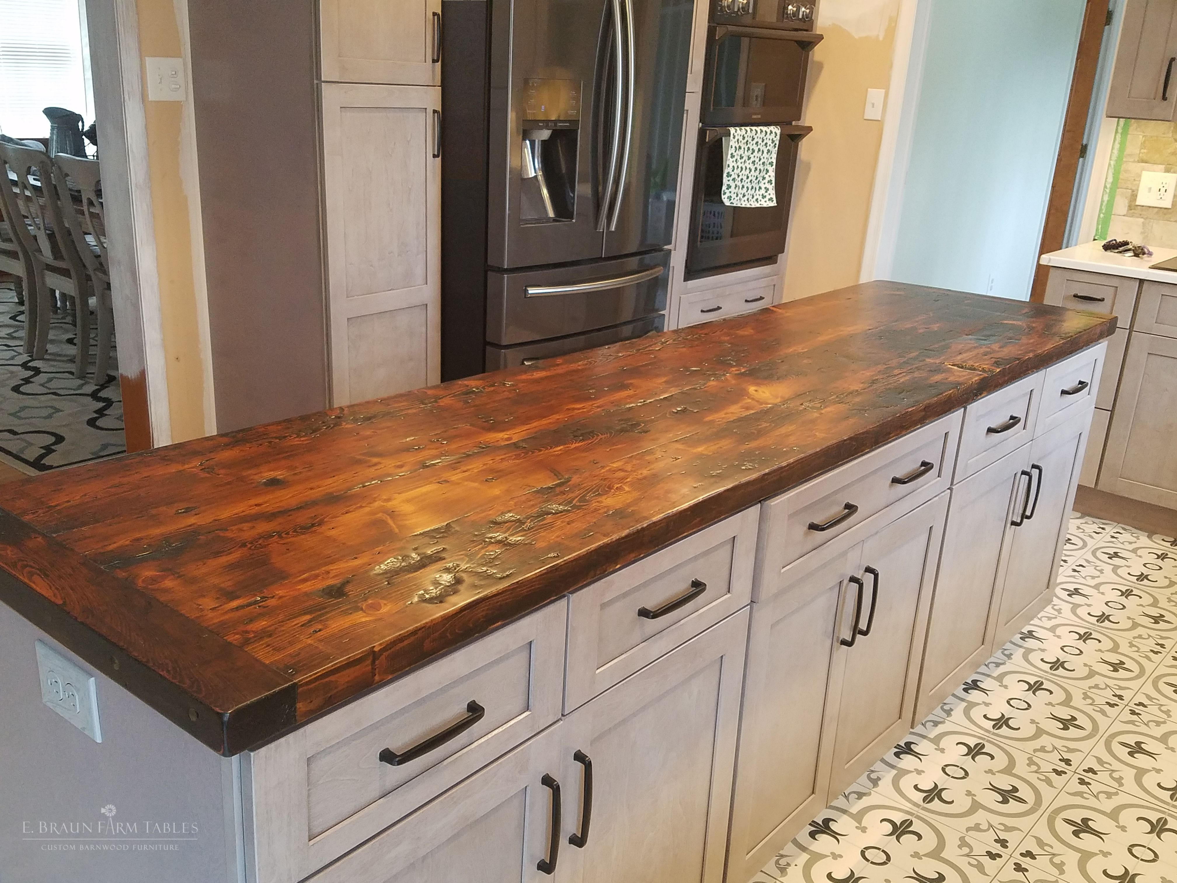 Island Top Handcrafted Using Reclaimed Mixed Character Yellow Pine Barn Wood 104 L X 26 Lake House Kitchen Diy Kitchen Countertops Wood Countertops Kitchen
