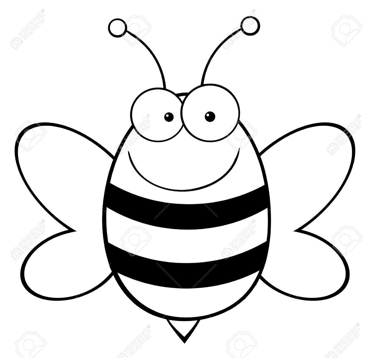 9276558 Outlined Bee Mascot Cartoon Character Stock Vector