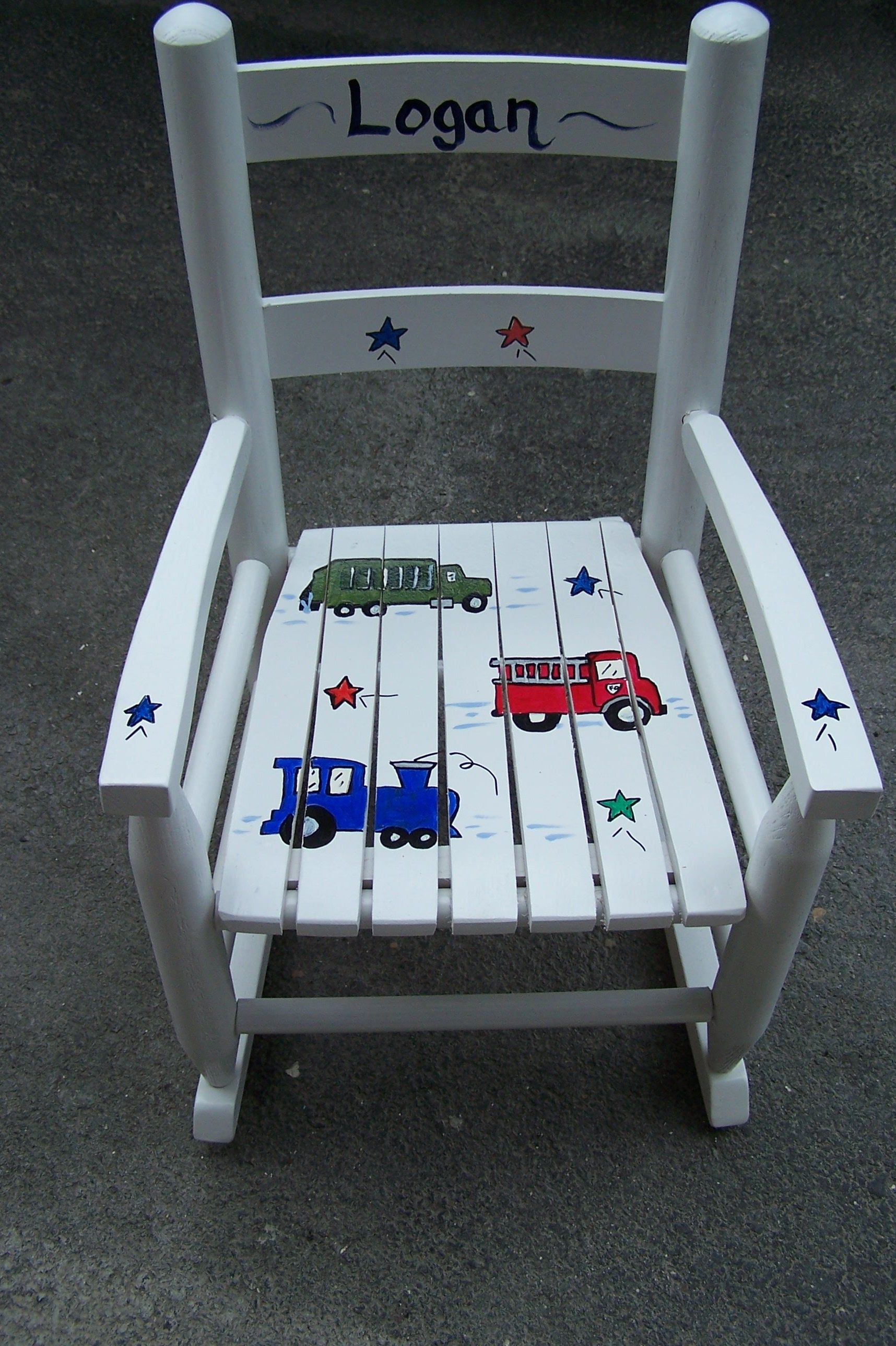 Vintage Children\'s Rocking Chair, custom painted with hand painted ...