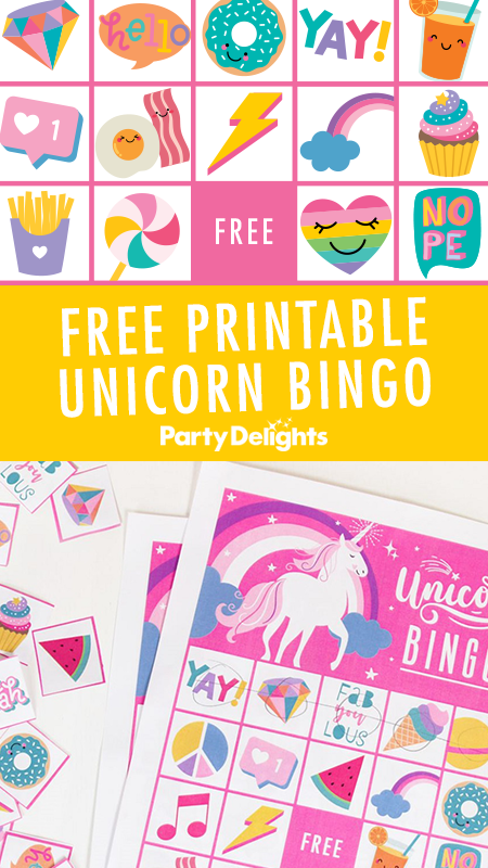 Free Printable Unicorn Bingo - Girls birthday party games, Birthday party games, Girls party games, Kids party games, Unicorn themed birthday party, Rainbow unicorn party - Looking for a fun unicorn party game  Download our free printable unicorn bingo cards  a fun game for kids of all ages!