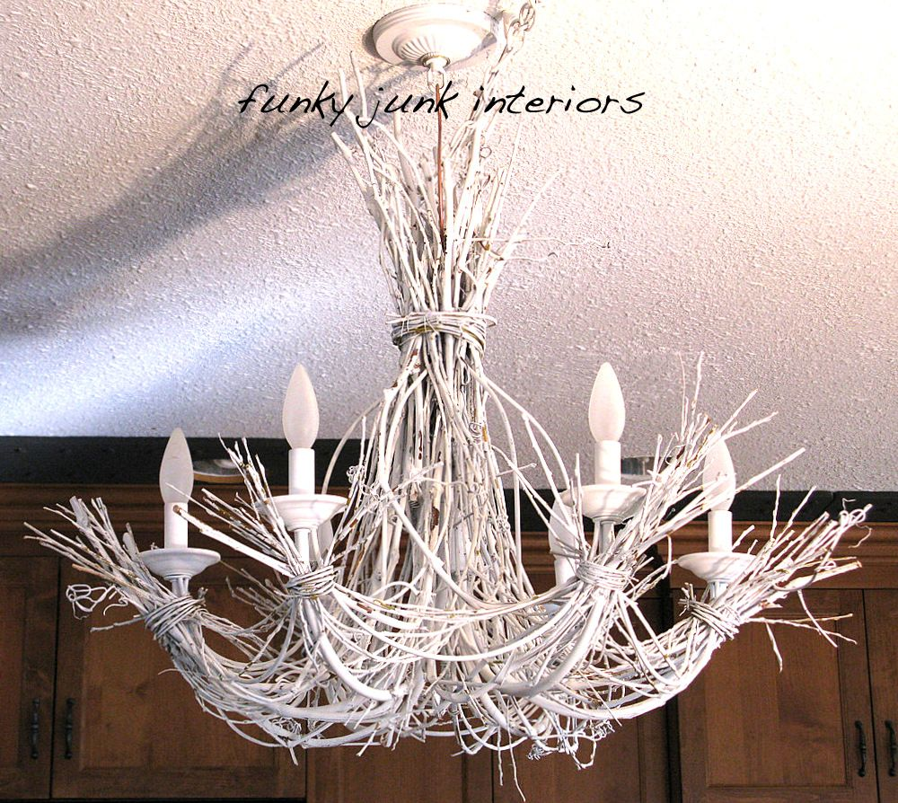 Lighting Up My Life With A White Twig Chandelier Diy Chandelier