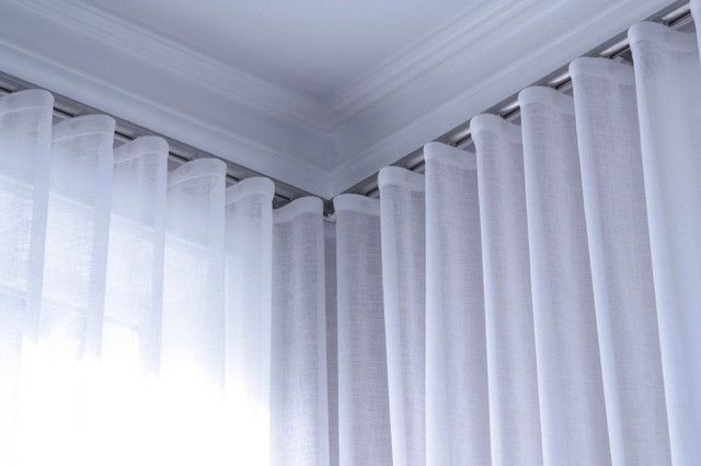 Wave Pleat Curtains, Track Ceiling Mounted