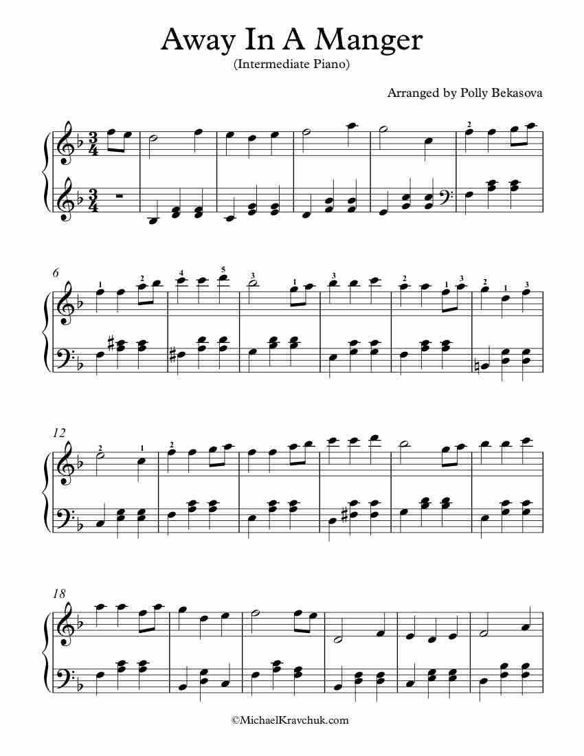 Intermediate Piano Arrangement Sheet Music – Away In A Manger   Sheet music, Music, Piano sheet ...