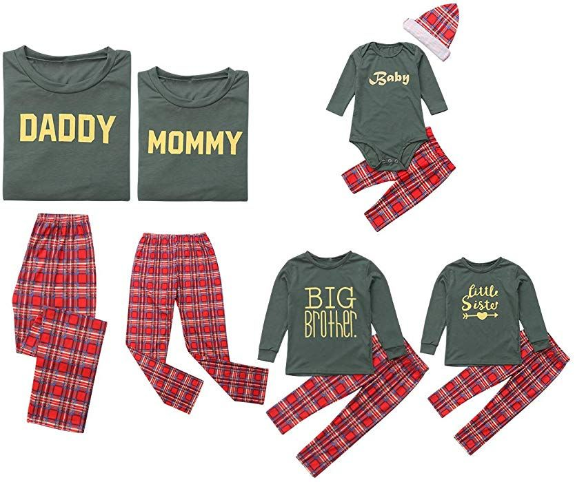 Amazon.com  Family Matching Christmas Pajamas Sleepwear Letter Printed Long  Sleeve Tops Green Striped Pajamas Pant Set  Clothing cebac5dcc