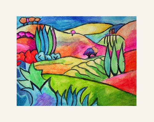 Watercolor Pencil Landscape Classroom Art Projects 4th Grade