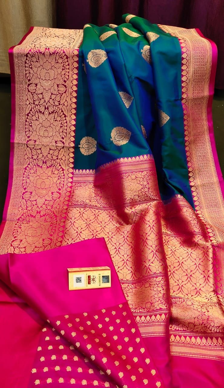 Photo of Buy blue and green color Pure handloom tussar silk sarees with blouse 8897195985