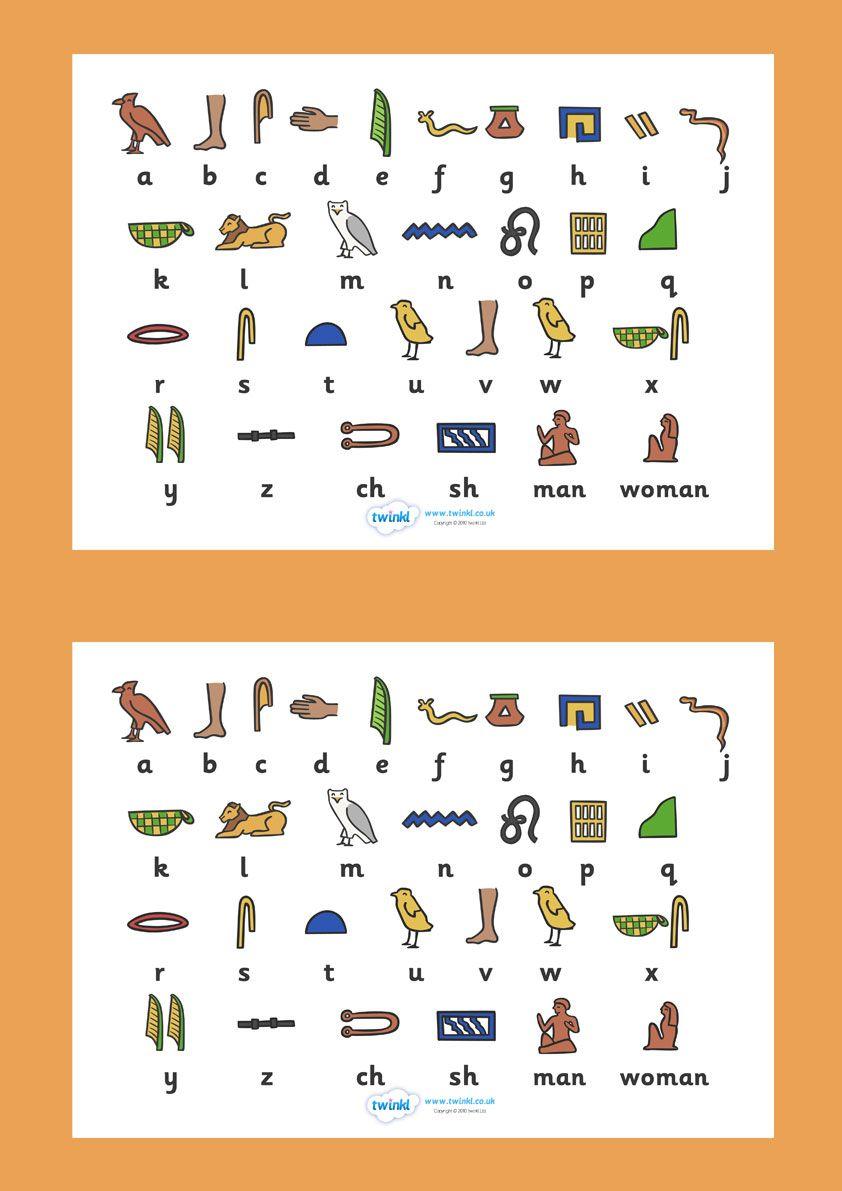 Ancient Egyptian Hieroglyphs Sheet. Free Printable. KS2