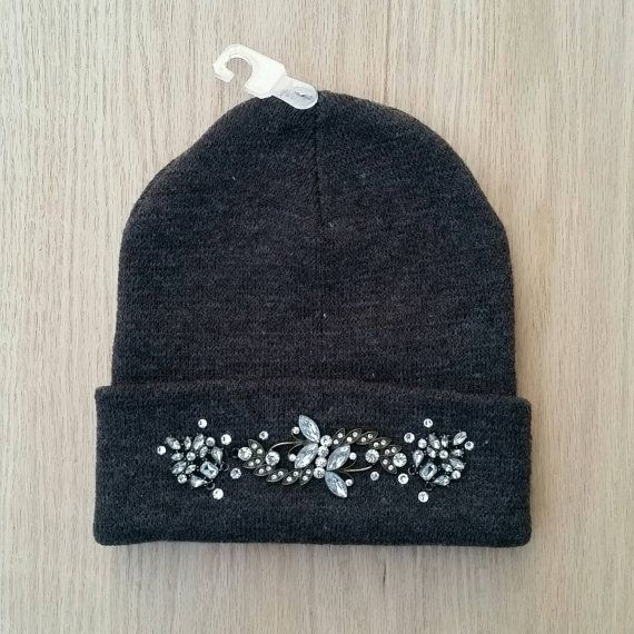c02565509 Swarovski Jeweled Grey Rhinestone Beanie Winter Hat   My style ...