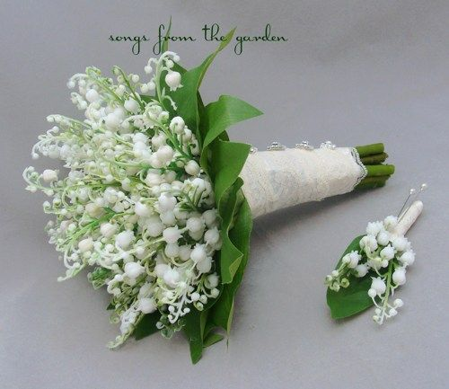 Lily Of The Valley Bridal Bouquet Groom Boutonniere Lace Royal Wedding Flower Package Silk