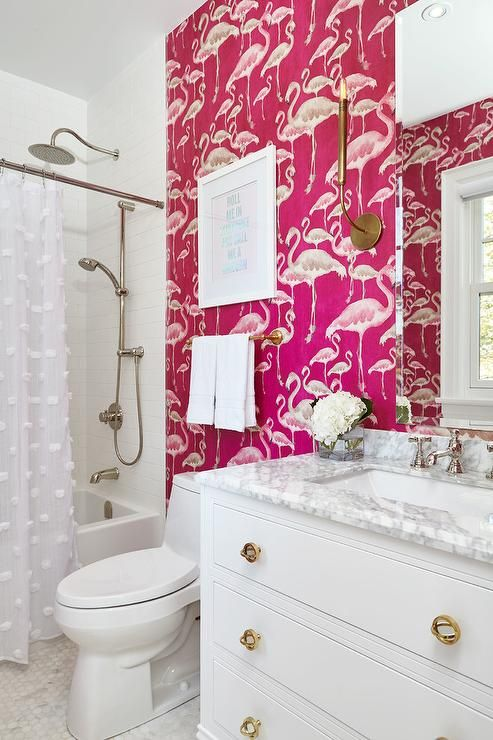Merveilleux Hot Pink Flamingo Pattern Wallpaper