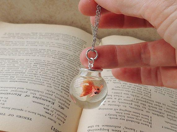 Goldfish Bowl Necklace Miniature Fish Swimming by JustKJewellery, £16.50