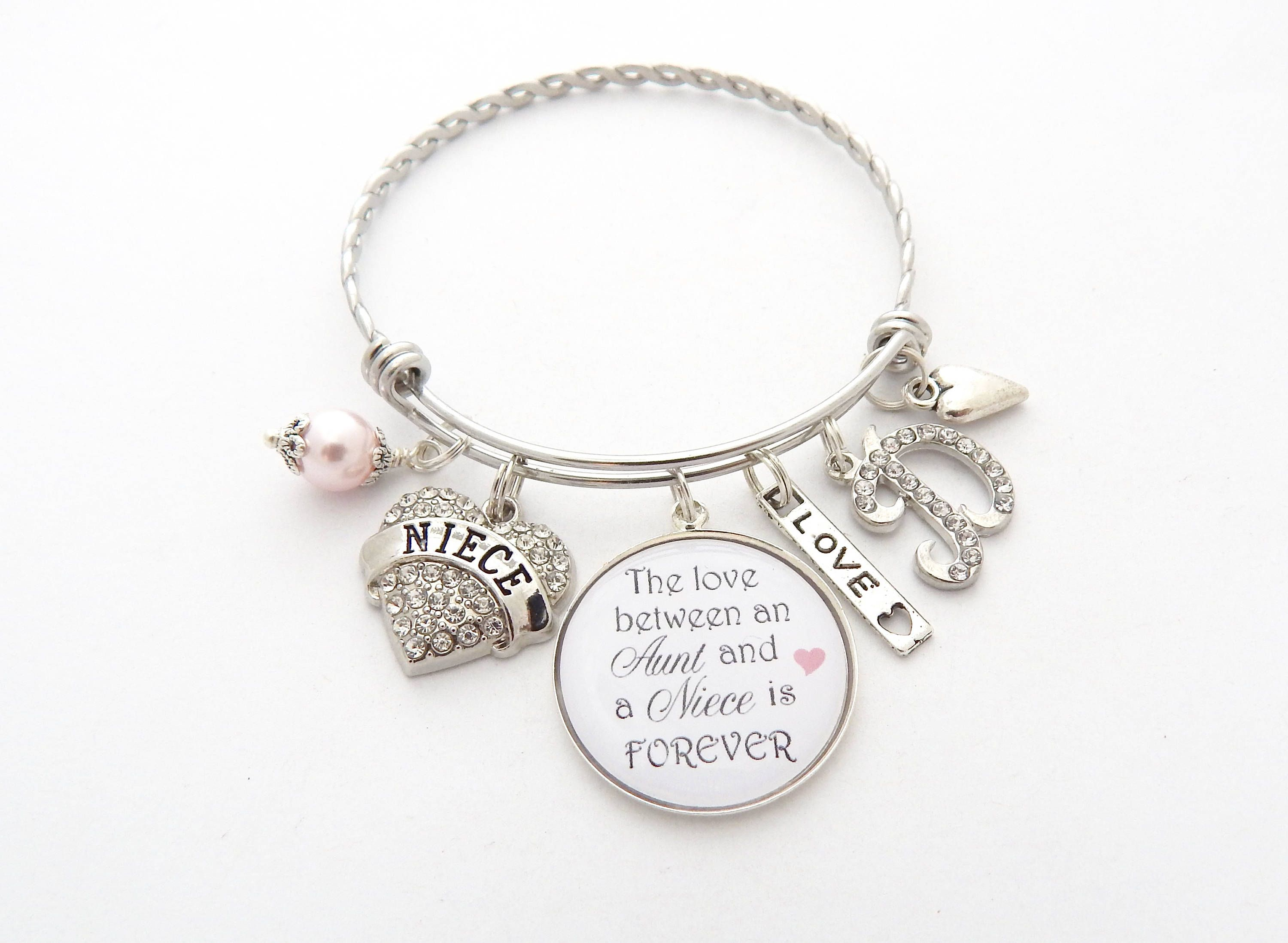 Niece Gift Bracelet Jewelry Personalized Wedding Gifts From Aunt For Rhinestone Heart Bangle