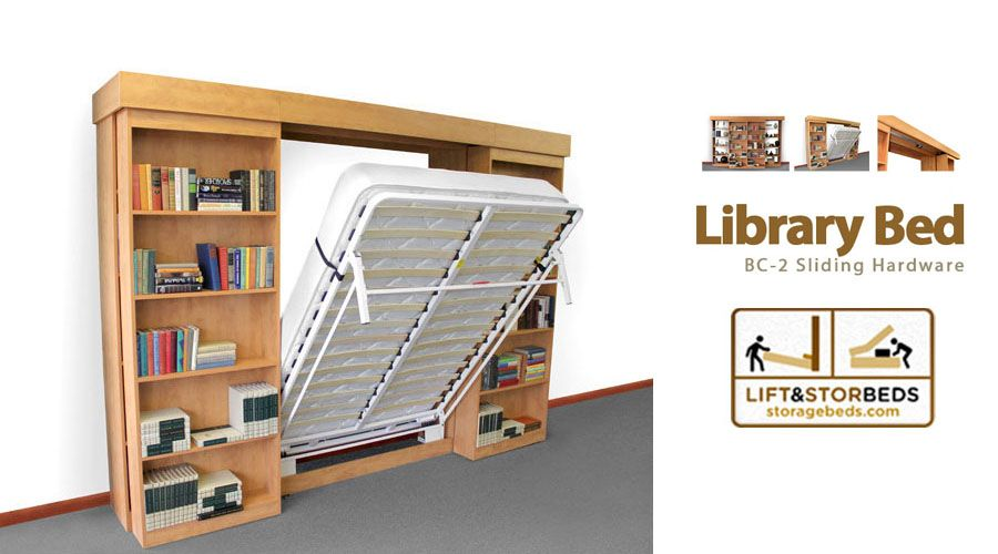 Library bed bc 2 sliding hardware pinterest murphy bed hardware the library bed sliding do it yourself hardware kit by lift stor beds is perfect for storing books toys or any other items you want to store solutioingenieria Choice Image