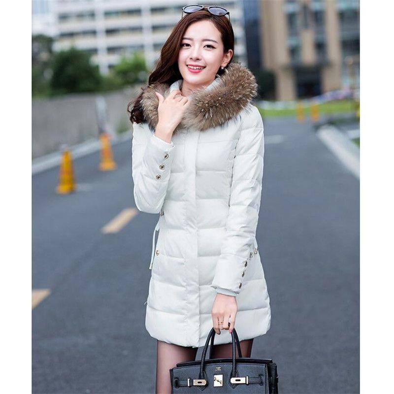 237bc8df36c4 New Women s Winter Jacket Women Cotton Down Jackets Winter Hooded Jacket  Fashion Girls Padded Slim Long