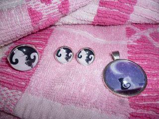 Kedy kreatív termékek: Ying yang cica gyűrű és bedugós fülbevaló, valamint Cat Valentine medál