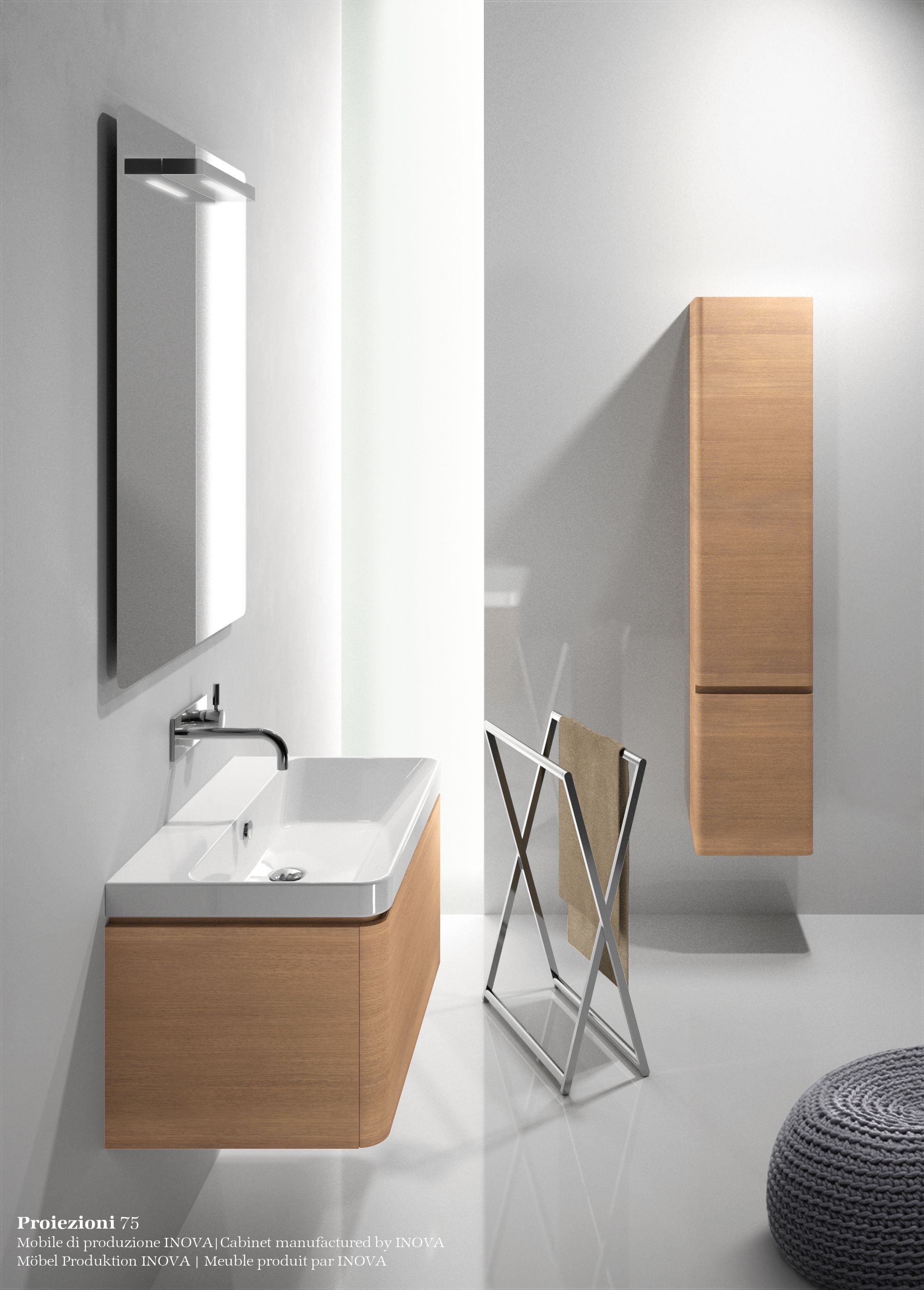 Inova Küchen Semi Inset Wall Mounted Ceramic Washbasin Proiezioni 75 By