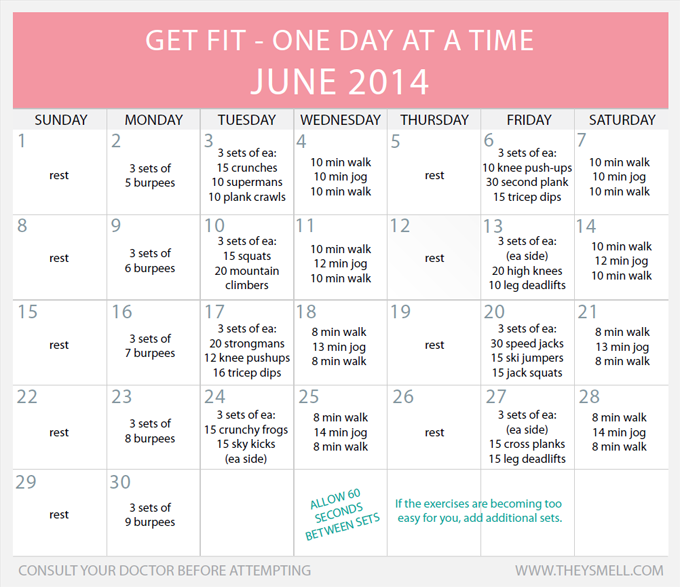 Exercise Workout Plan: Daily Beginner Workout Plan For June