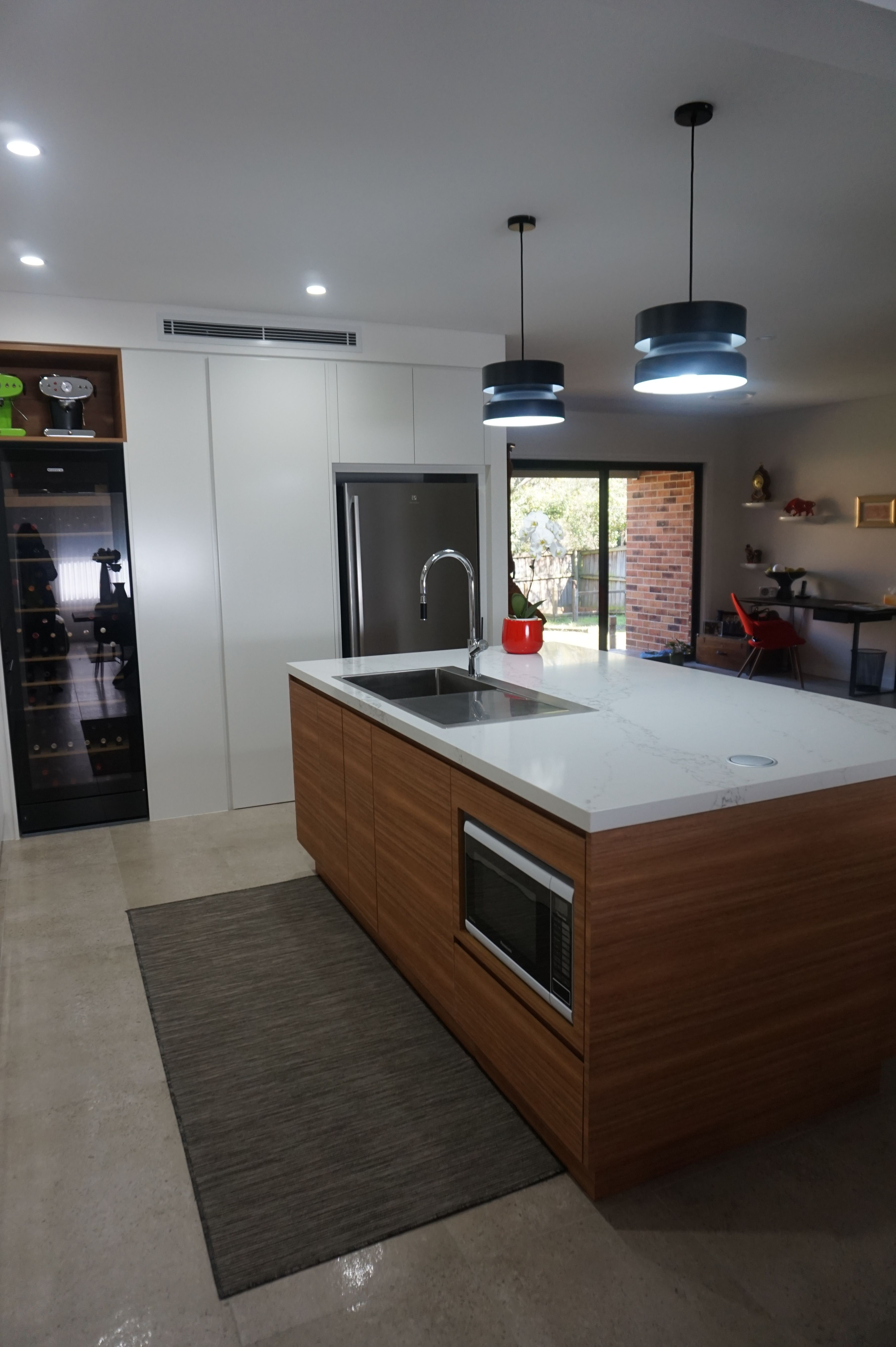 Two Tone Kitchen Built In Under Bench Microwave Integrated Sink Walk In Pantry Wine Fridge Kitchen Remodel Walk In Pantry New Kitchen