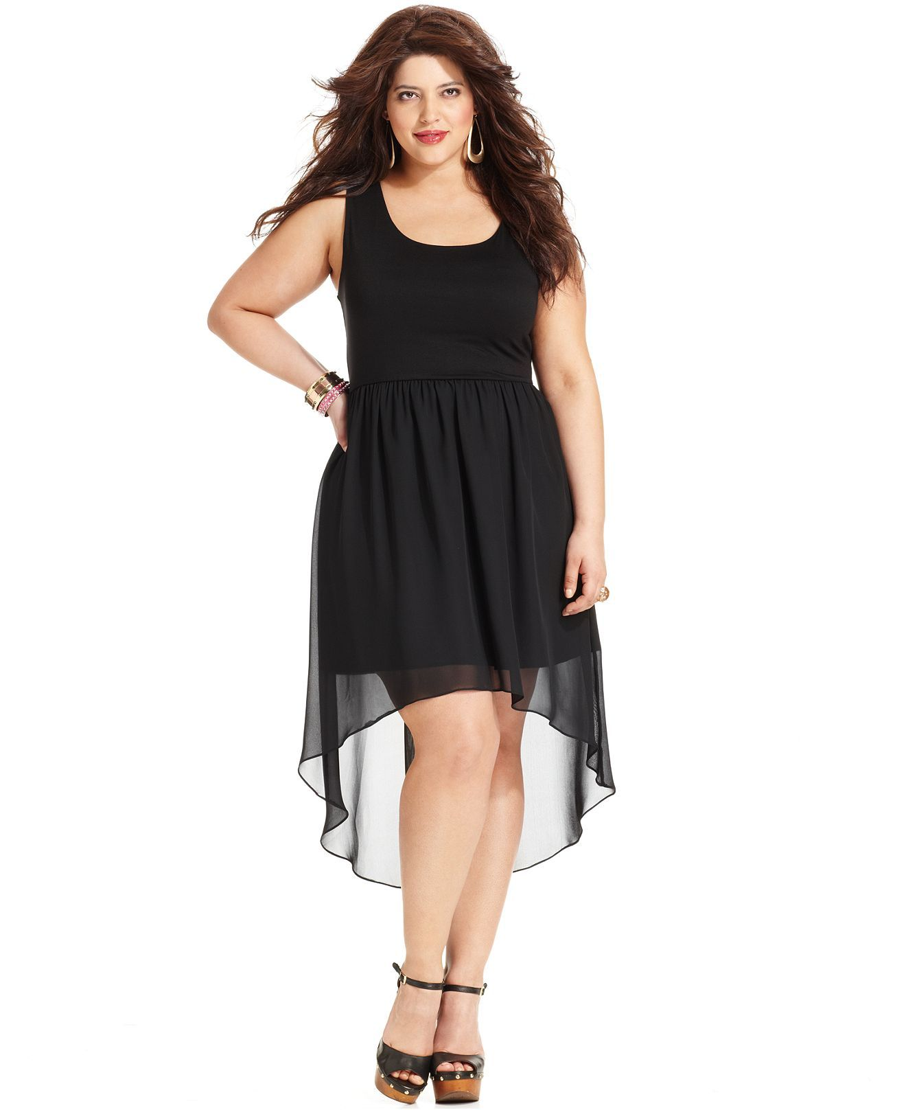 soprano plus size dress, sleeveless tank high-low-hem - plus size
