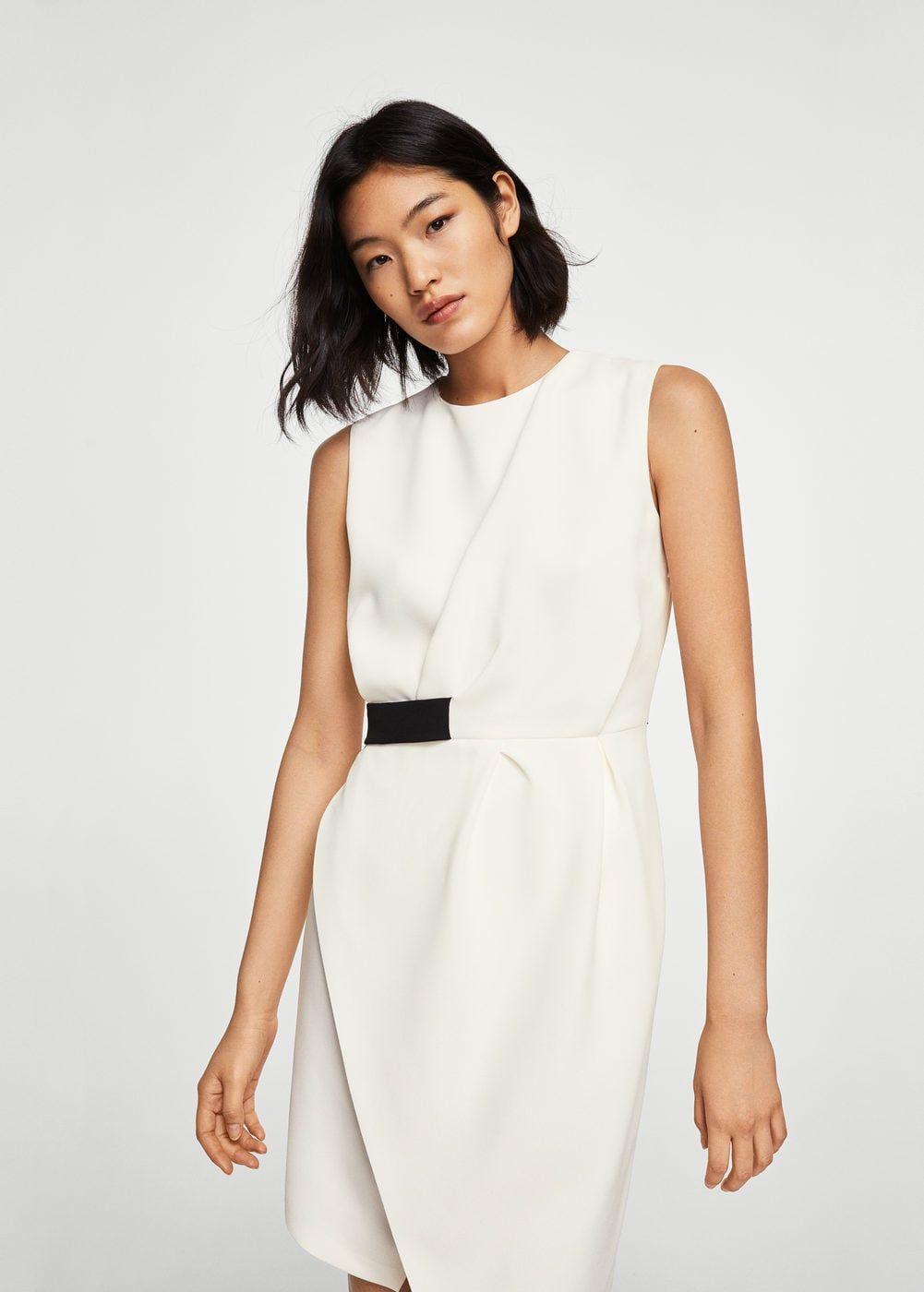 e1da24a52e Flowy fabric Straight design Round neck Contrast elastic waist Asymmetrical  hem Sleeveless Asymmetric button fastening at back