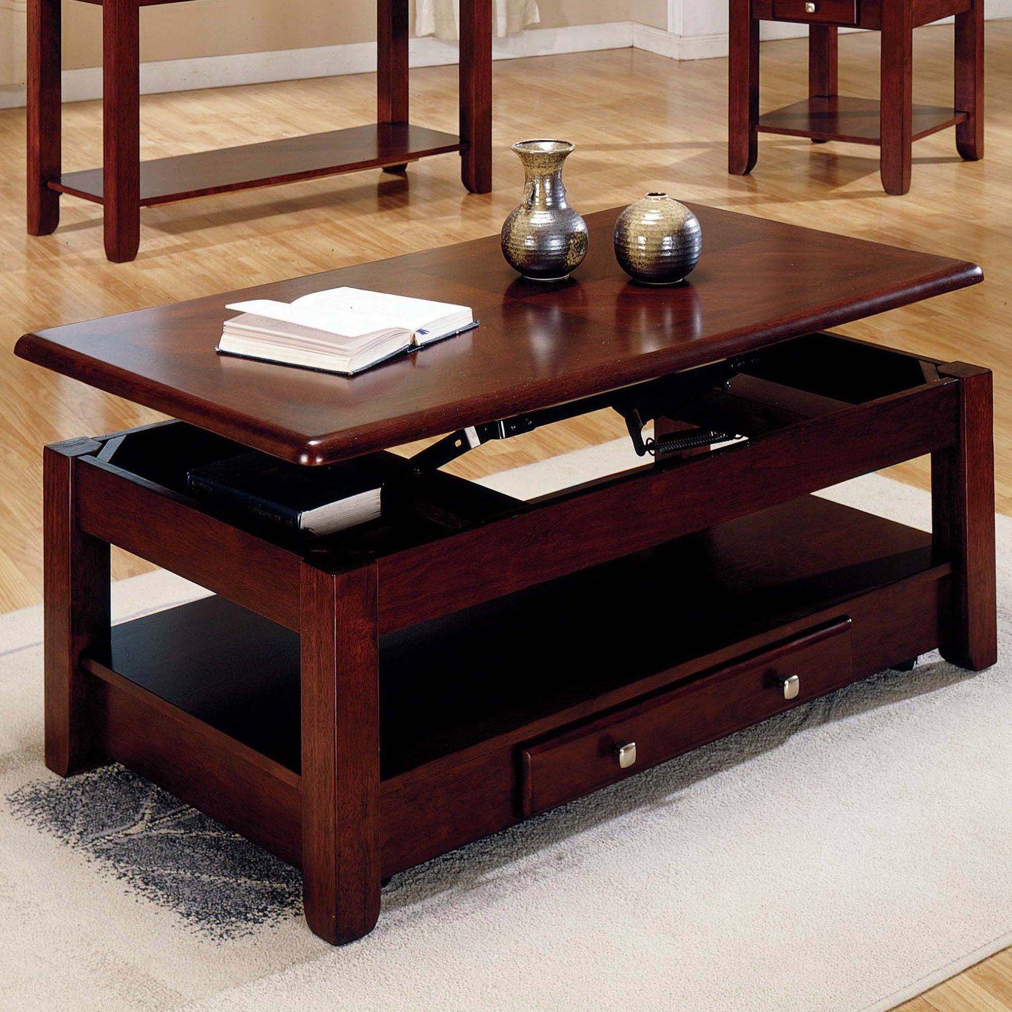 Steve silver nelson lift top cocktail table with casters cherry nl300clc