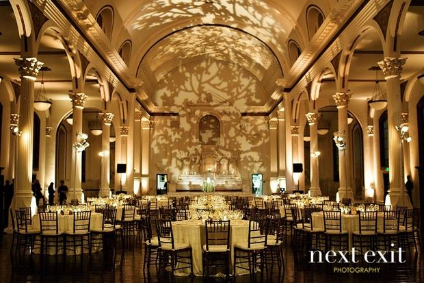 Leaf Lighting Gobo On Back Wall Love The Uplit Columns Weddings Los Angeles Cool Modern Wedding Reception