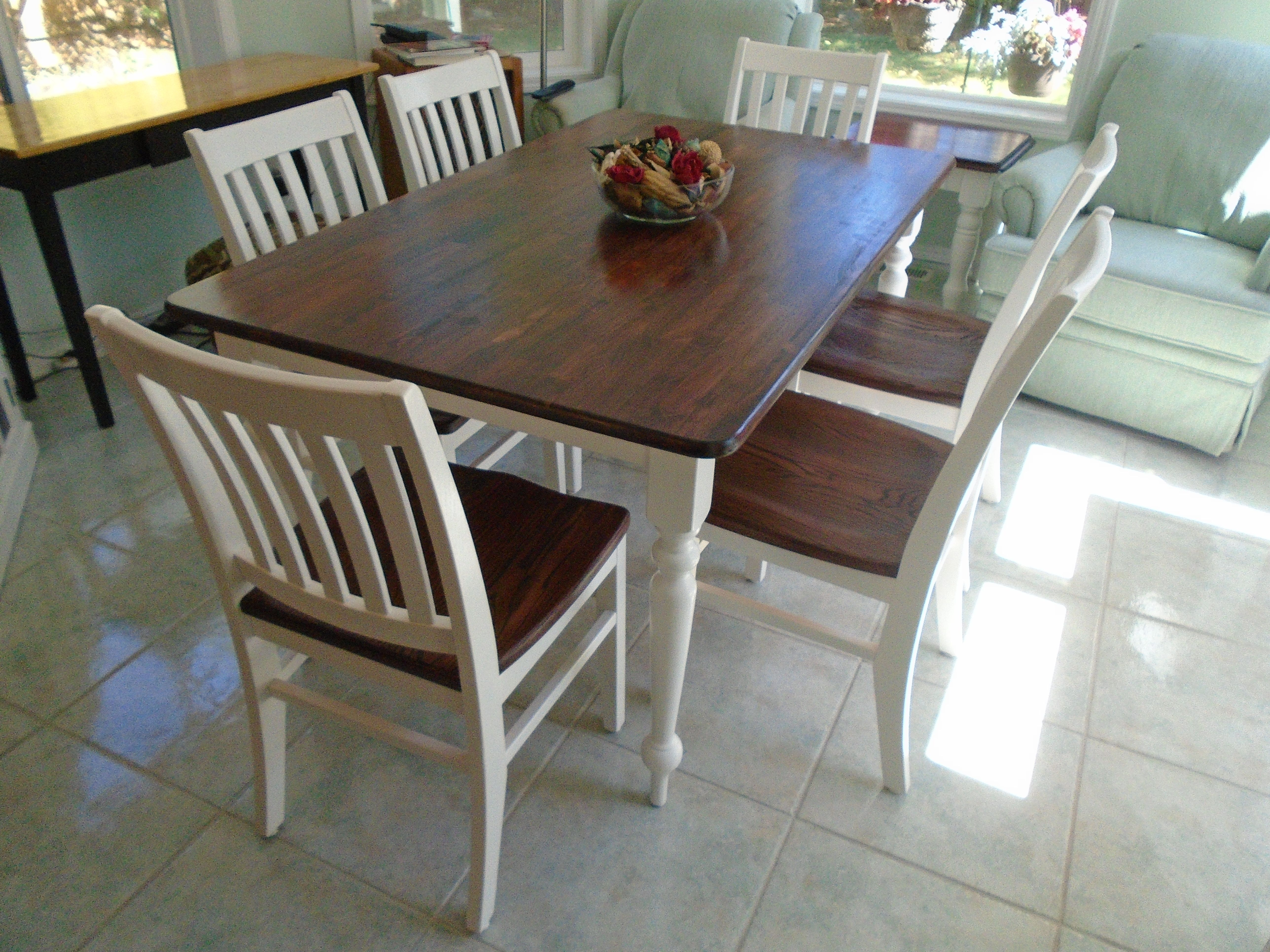 farmhouse kitchen chairs cabinet colors rustic table brown stained top white painted