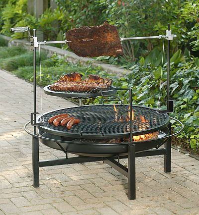 The Round Rock Grill Rotisserie And Fire Pit 59050x Fire Pit Cooking Outdoor Bbq Grill Fire Pit Grill