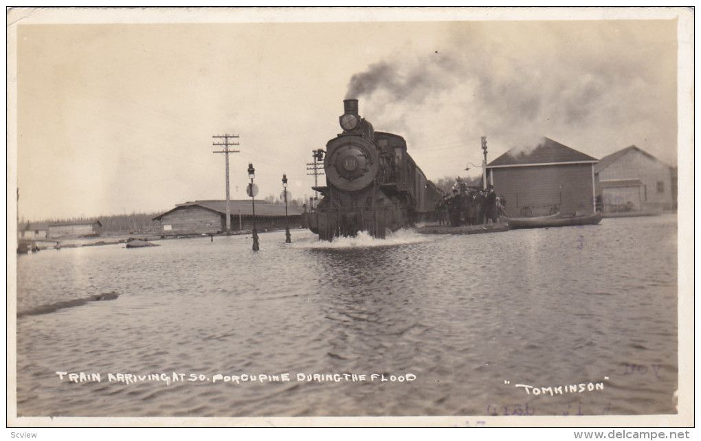 RP: Train at Railroad Station during flood , SOUTH PORCUPINE , Ontario , Canada 00-10s Item number: 253019296  - Delcampe.com