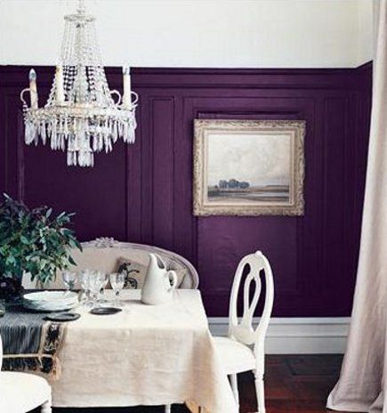 Purple Paint Wall Color Dining Room Chandelier Would Be Wonderful For