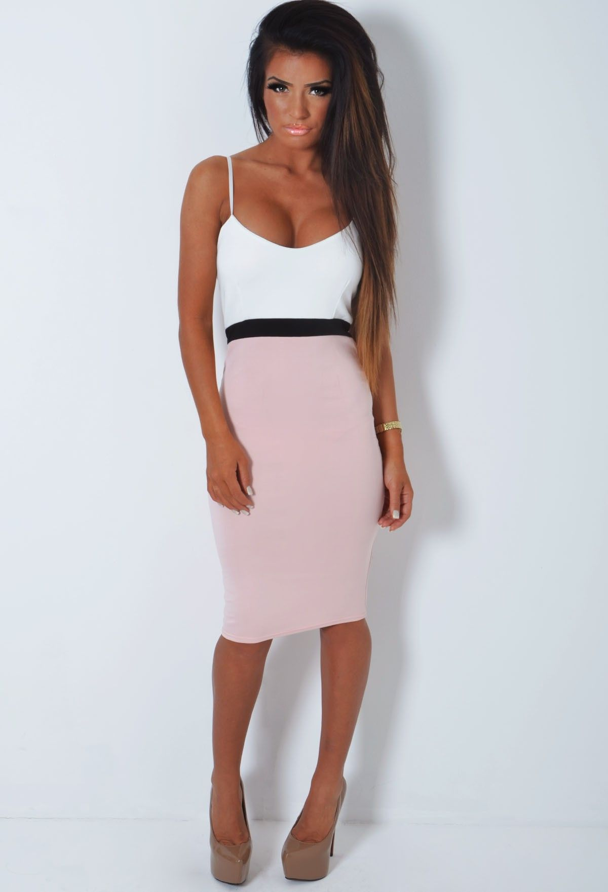 Pink And White Bodycon Midi Dress | Midi Dresses | Pinterest ...