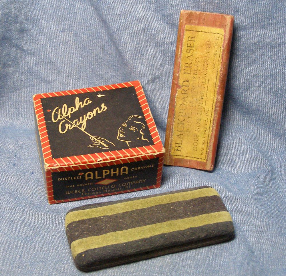 Vintage School Chalkboard Erasers And Chalk Box Vintage School School Chalkboard My Childhood Memories