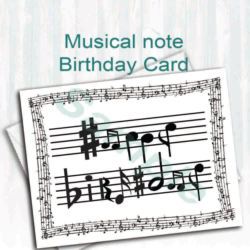 Sheet Music Birthday Card,Digital Download,Musical Notes