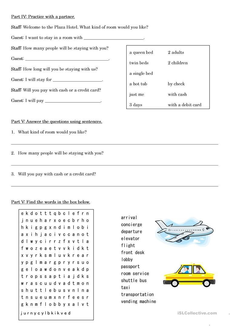 Making A Hotel Reservation Worksheet Free Esl Printable Worksheets Made By Teachers Good Vocabulary Words Hotel Reservation Good Vocabulary Esl free worksheets for spanish adults