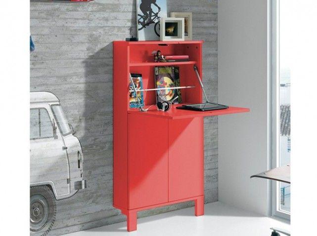 bureau rouge escamotable Keos LA MAISON DE VALERIE L 65 x P 176