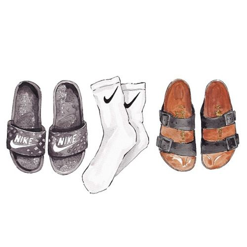 Good objects - The weekend is ending… is it ok to wear slides and socks? #nike #birkenstock #birks #goodobjects