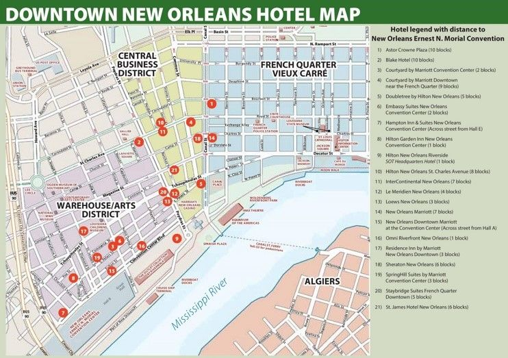 map new orleans convention center New Orleans Hotel Map New Orleans Hotels Downtown New Orleans map new orleans convention center