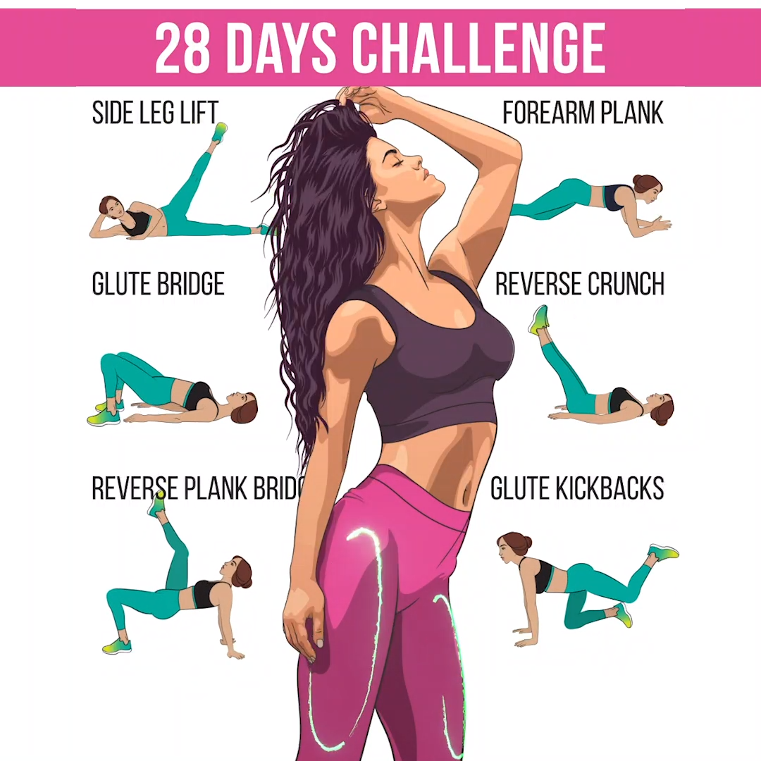 28Day Challenge to Get Slimmer Body at Home Transform the body just in 28 days The workout below will help you to achieve desired results in 1 month Try and prepare the b...