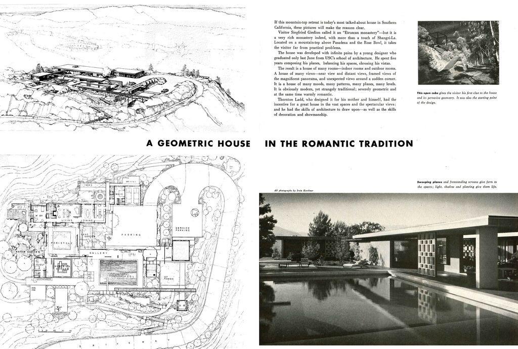 Thornton Ladd Lillian B Ladd Residence Hilltop House 1085 Glen Oaks Blvd Pasadena Ca 1951 Page 1 Of 6
