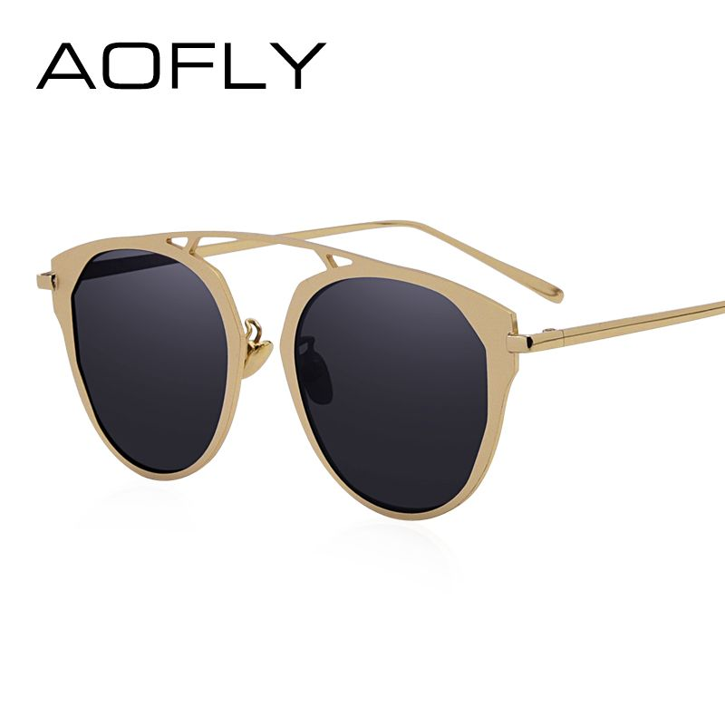AOFLY Fashion Lady Cat Eye Sunglasses Brand Designer Metal Frame Sun Glasses  Women Coating Mirror Shades 77783a61d9