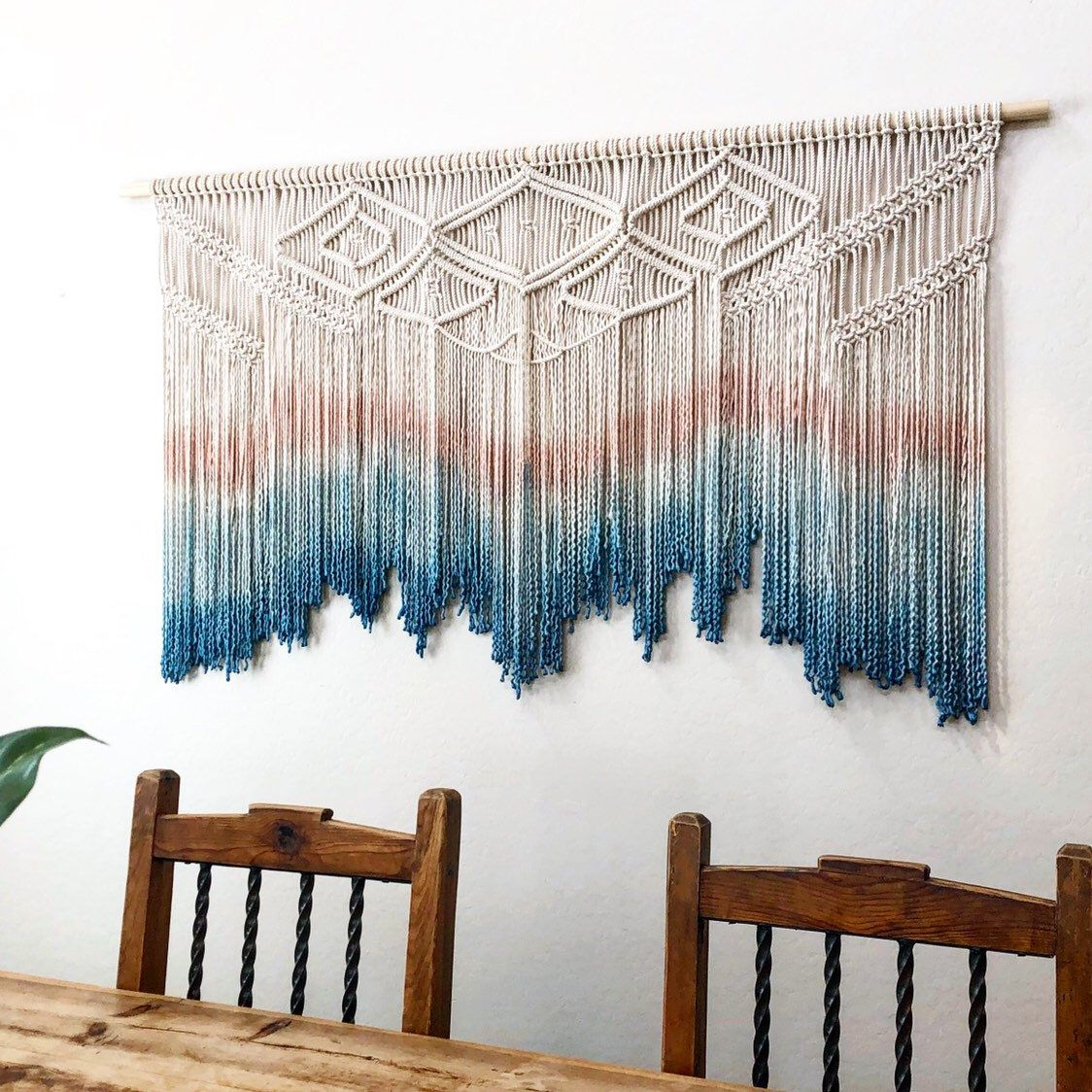 Large Macramé Wall Hanging. Your Choice Of Dipdye Color