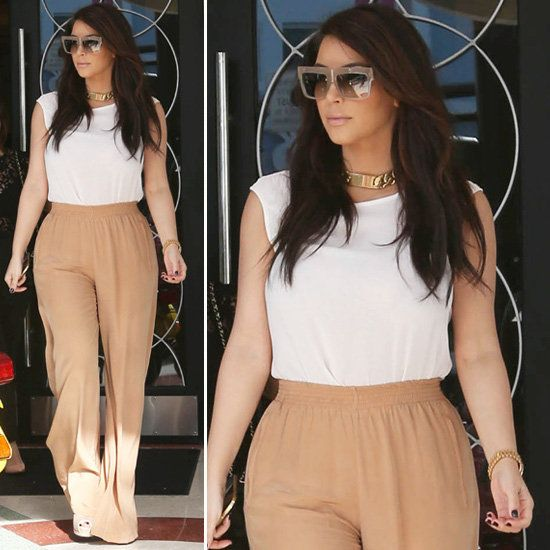 Kim Kardashian Goes Neutral (and Bold) in Tan Wide-Leg Pants | Tan ...