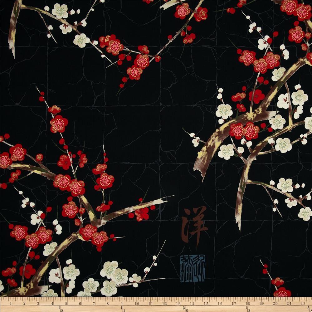 Alexander henry indochine kakomi kanji tea discount designer fabric - Alexander Henry Indochine Golden Garden Black From Fabricdotcom Designed By The Deleon Design Group For