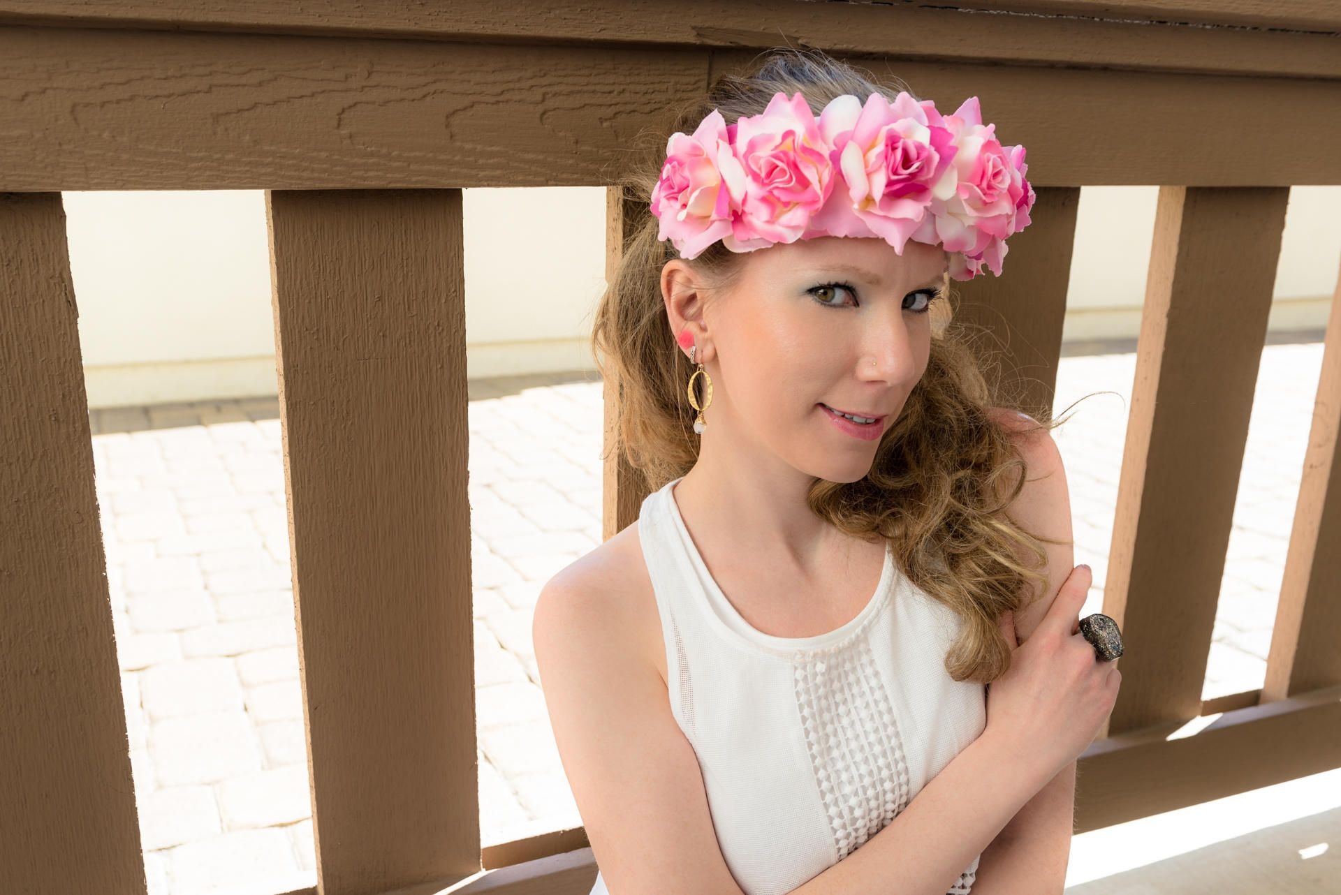 Pink white cream rose flower crown flower headband festival pink white cream rose flower crown flower headband festival headband hippie headband izmirmasajfo