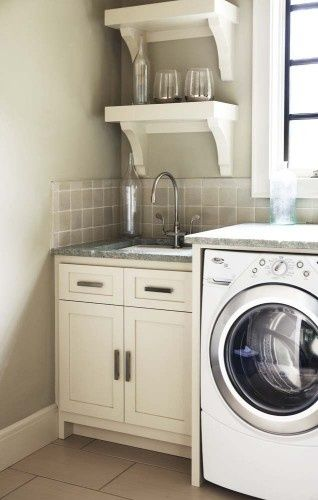 Nice Chunky Shelves Over Utility Sink Laundry Room Design