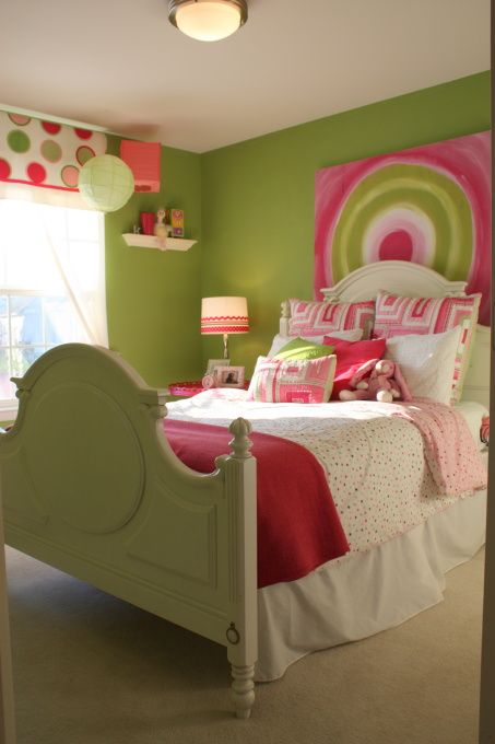 pink and green girls room | For the Home | Pink bedroom for ...