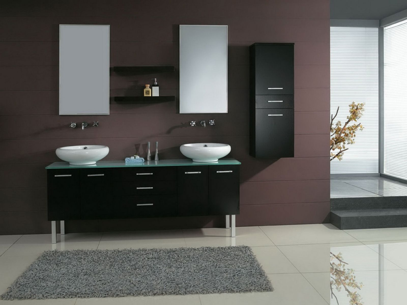 Remarkable Double Bowl Sink Vanities For Bathroom Modern Bathroom