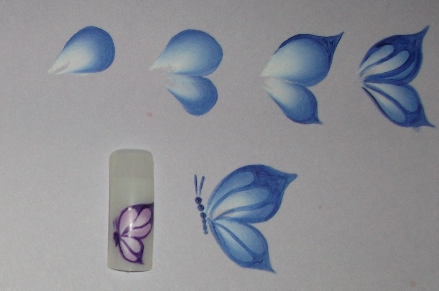 One Stroke Painting Two Types Of Butterflies For Nails