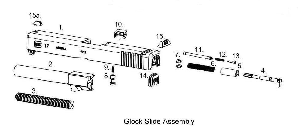 guns glock slide assembly exploded view parts